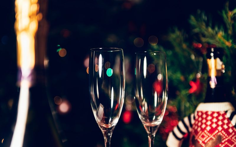 Xmas or New Year Party with champagne